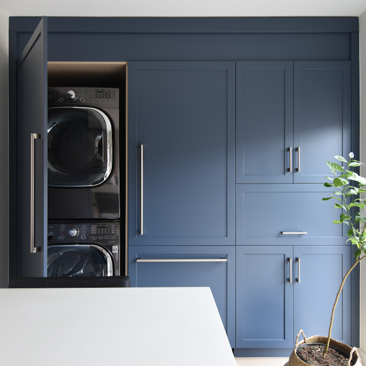 washer-dryer-behind-blue-cabinetry-interior-design-3